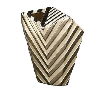 Large Striped Metallic Abstract Vase