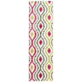 Waverly Aura Flora Ikat Jazzberry Runner Rug (2'3 x 7'6)