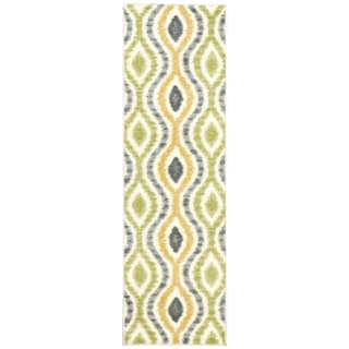 Waverly Aura Flora Ikat Wasabi Runner Rug (2'3 x 7'6)