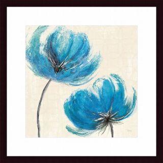 'Azure III' Blue Floral Contemporay Framed Art