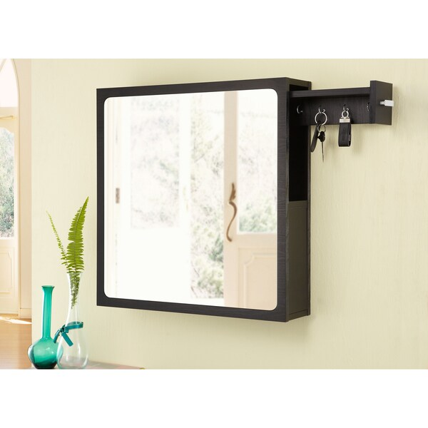 Furniture of America All-in-One Black Multi-Storage Hanging Mirror