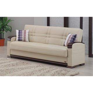 Fulton Cream Vinyl/ Espresso Sofa Bed