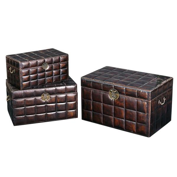 Faux leather upholstered box set 15243772 overstock - Decorative trunks and boxes ...