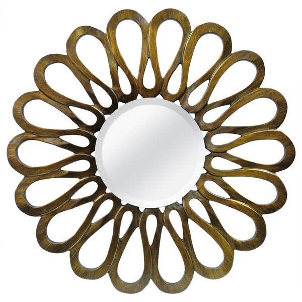 Flower Petal Bronze Round Mirror