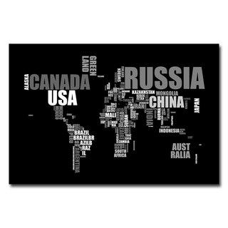 Michael Tompsett 'World Text Map' Abstract Canvas Art