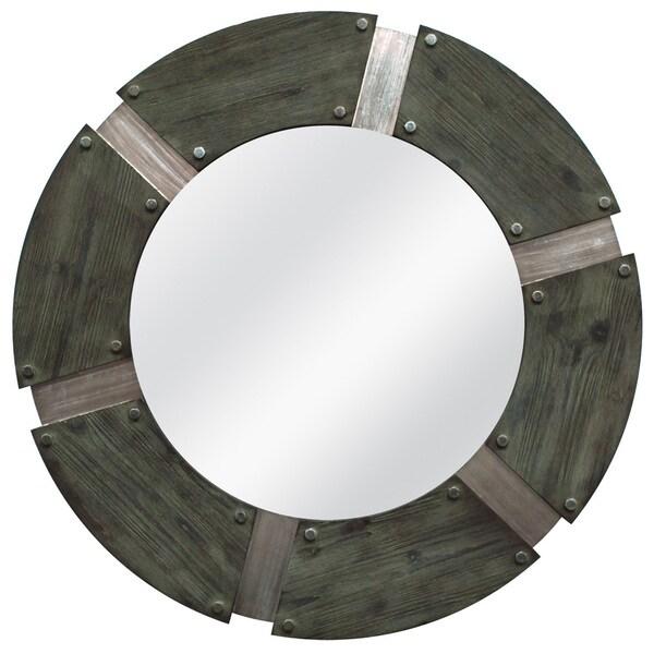 Rustic Industrial Round Mirror