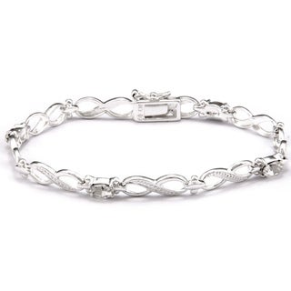 Sunstone Silver-Plated Infinity White Link Bracelet Made with Swarovski Crystal