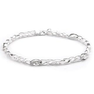 Sunstone Silver-plated Infinity Link Bracelet Made with SWAROVSKI CRYSTAL