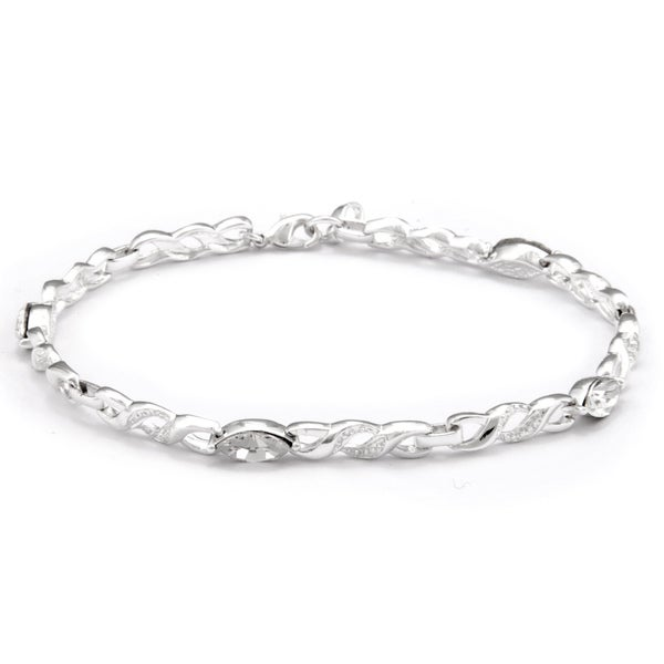 Sunstone Silver-plated Infinity Link Bracelet Made with SWAROVSKI CRYSTAL