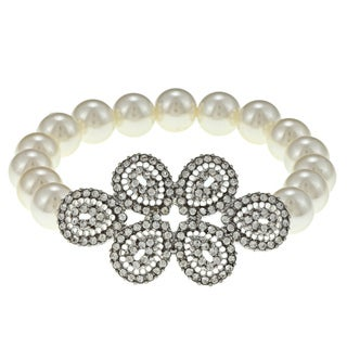 Roman Silvertone Cream Faux Pearl and Crystal Stretch Bracelet