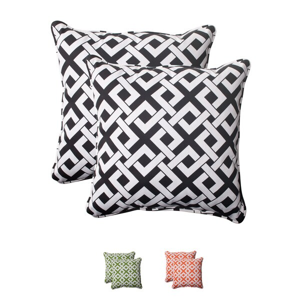 Pillow Perfect Outdoor Boxin Corded 18.5-Inch Throw Pillow (Set of 2)