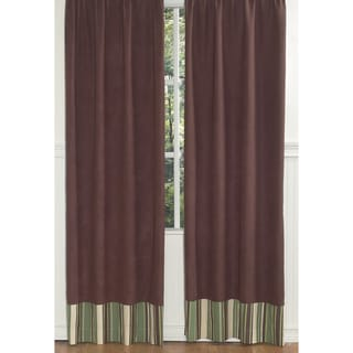 Brown With Stripe Border Modern 84-inch Curtain Panel Pair