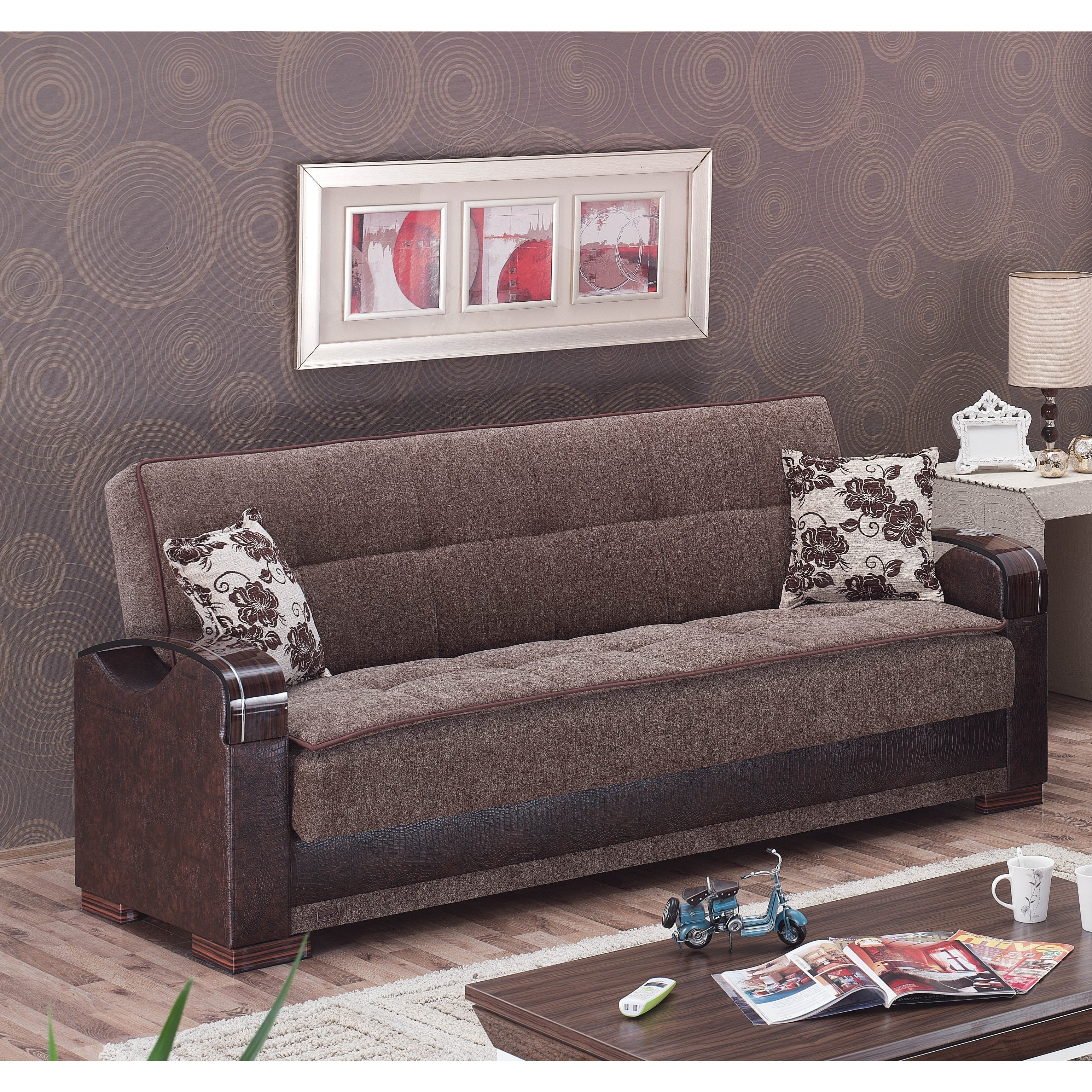 Hartford Brown Fabric/ Reptile-embossed Vinyl Sofa Bed at Sears.com