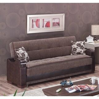 Hartford Brown Fabric/ Reptile-embossed Vinyl Sofa Bed