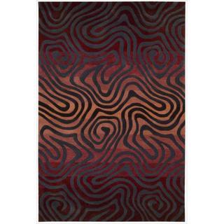 Hand-tufted Sangria Contour Abstract Zebra Print Rug (7'3 x 9'3)