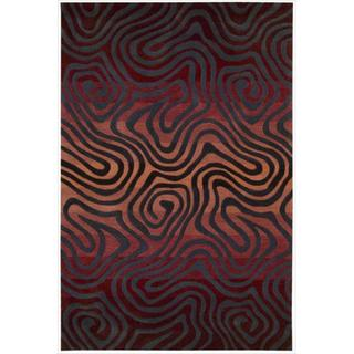 Hand-tufted Sangria Contour Abstract Zebra Print Rug (8' x 10'6)