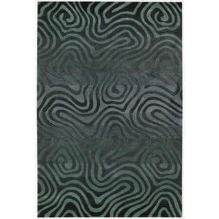 Hand-tufted Teal Contour Abstract Zebra Print Rug (3'6 x 5'6)
