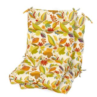 Fireworks Floral Outdoor High-back Chair Cushions (Set of 2)