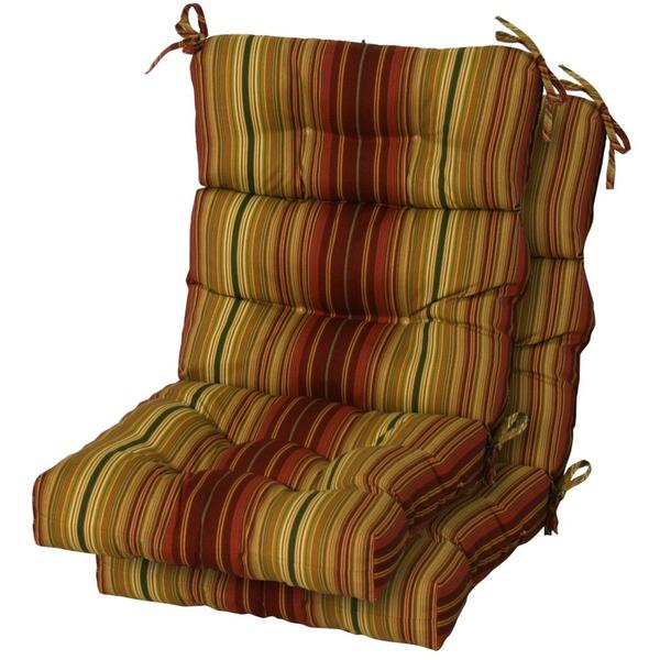 3 section Contemporary Outdoor Kinnabari Stripe High Back