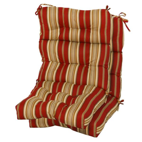 Outdoor Roma Stripe High Back Chair Cushion Set of 2 Patio Furniture Garden Y