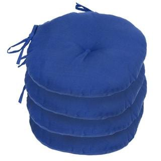 15-inch Aqua Blue Round Outdoor Bistro Chair Cushion (Set of 4)