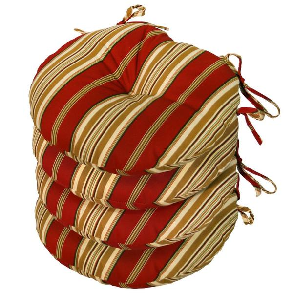Red Gold Stripe Indoor Outdoor 20inch Chair Cushion With