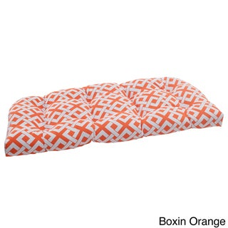 Pillow Perfect 'Boxin' Outdoor Wicker Loveseat Cushion
