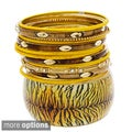 NEXTE Jewelry Goldtone Patterned Lucite 13-piece Bangle Set