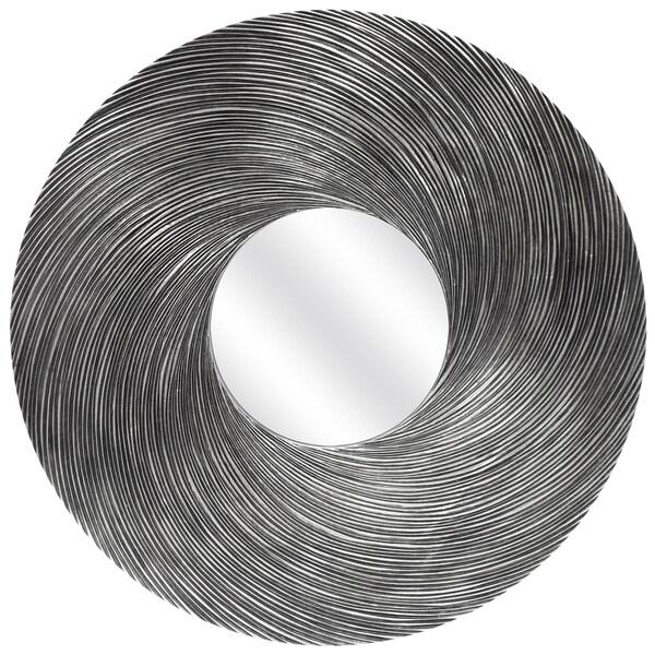 Round Swirl Silver Mirror