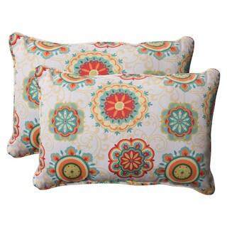 Pillow Perfect Aqua Outdoor Fairington Corded Oversized Rectangular Throw Pillow (Set of 2)