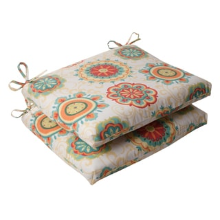 Pillow Perfect Outdoor Fairington Squared Seat Cushion in Aqua (Set of 2)