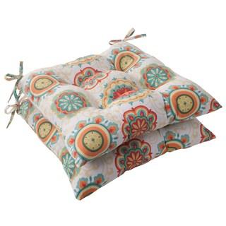Pillow Perfect Outdoor Fairington Aqua Tufted Seat Cushion (Set of 2)
