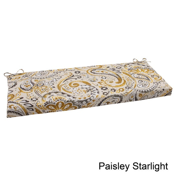 Pillow Perfect Paisley Polyester Outdoor Bench Cushion