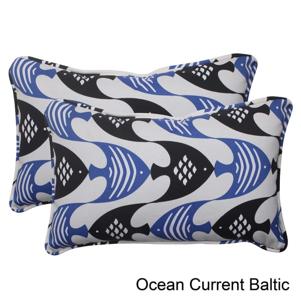 Pillow Perfect Ocean Current Polyester Corded Outdoor Rectangular Throw Pillows (Set of 2)
