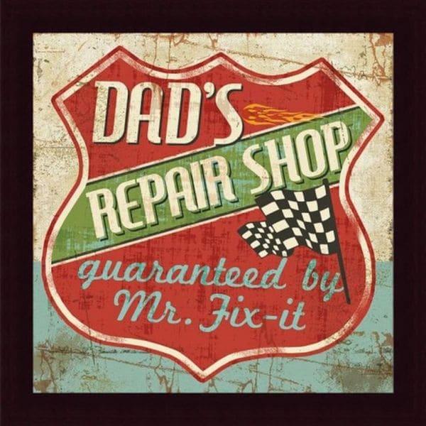 Mancave IV 'Dad's Repair Shop' Framed Print