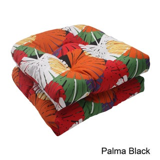 Pillow Perfect Palma Polyester Tufted Outdoor Wicker Seat Cushions (Set of 2)