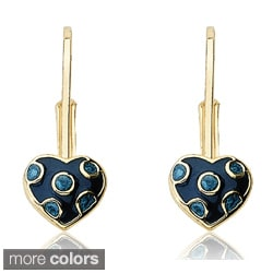 Little Miss Twin Stars Gold Overlay Enamel Polka Dot Heart Earrings