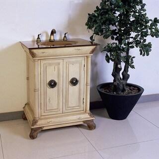 Tempered Glass Top 28-inch Single Sink Bathroom Vanity