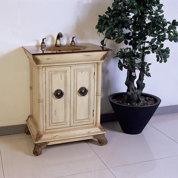 tempered glass top 28 inch single sink bathroom vanity 15244009