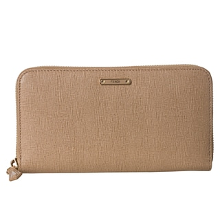 Fendi 'Crayons' Beige Leather Zip-around Wallet