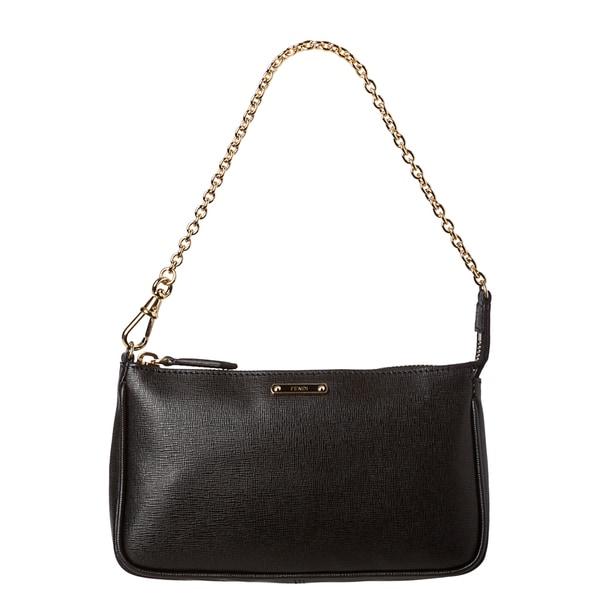 Fendi 'Crayon' Black Saffiano Leather Pouchette Bag