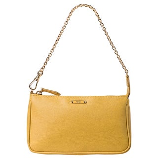Fendi 'Crayon' Yellow Saffiano Leather Pouchette Bag