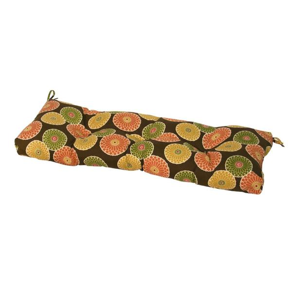 44-inch Outdoor Flowers on Chocolate Swing/ Bench Cushion