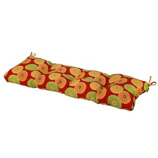 51-inch Outdoor Flowers on Red Bench Cushion