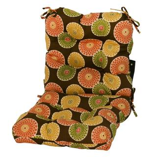 Chocolate Brown Floral Outdoor Seat/ Back Chair Cushion