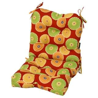 Red Floral Outdoor Seat/ Back Chair Cushion