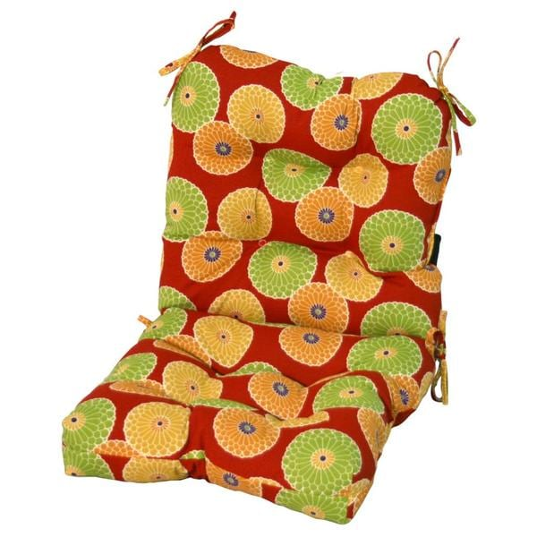Outdoor Flowers on Red Seat/ Back Chair Cushion