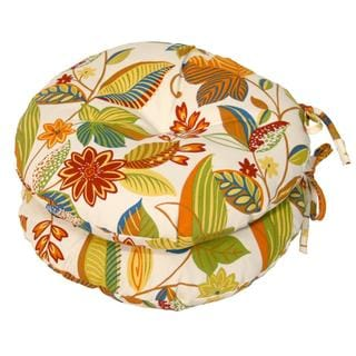 Floral 15-inch Round Outdoor Bistro Chair Cushions (Set of 2)