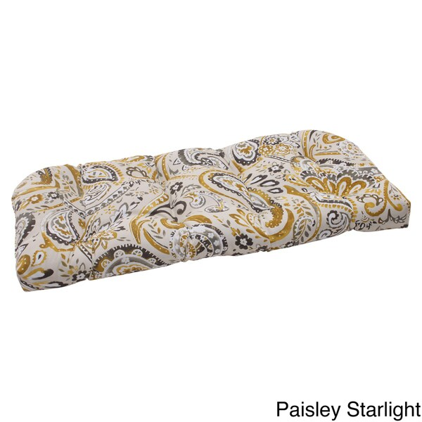 Pillow Perfect Outdoor Paisley Wicker Loveseat Cushion