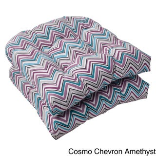 Pillow Perfect Outdoor Cosmo Chevron Wicker Seat Cushions (Set of 2)